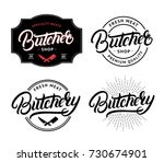set of butcher shop and...   Shutterstock .eps vector #730674901