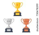 gold  silver  bronze trophy cup ... | Shutterstock .eps vector #730678399