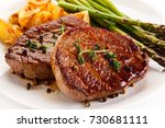 grilled beef steaks chips and... | Shutterstock . vector #730681111