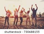 happy young people having fun... | Shutterstock . vector #730688155