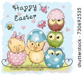 greeting easter card two chicks ... | Shutterstock . vector #730692535
