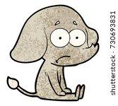 cartoon unsure elephant sat on... | Shutterstock .eps vector #730693831