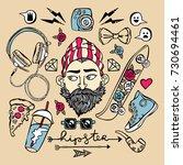hipster set. young man ... | Shutterstock .eps vector #730694461
