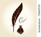Feather Pen Ink Calligraphic...