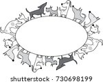 dogs with oval frame | Shutterstock .eps vector #730698199