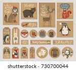 christmas kraft paper cards and ... | Shutterstock .eps vector #730700044