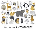 Christmas set, hand drawn style - calligraphy, animals and other elements. Vector illustration. | Shutterstock vector #730700071
