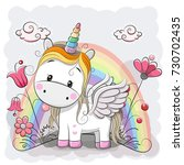 cute cartoon unicorn and... | Shutterstock . vector #730702435