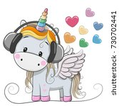 cute cartoon unicorn with... | Shutterstock . vector #730702441