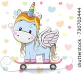 cute cartoon blue unicorn on... | Shutterstock . vector #730702444