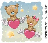 valentine card lovers bears are ... | Shutterstock . vector #730702489