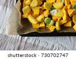 chopped autumn vegetables  ...
