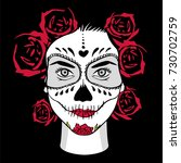 day of the dead woman with... | Shutterstock .eps vector #730702759
