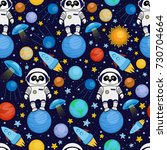 colorful seamless cartoon space ...   Shutterstock . vector #730704664