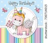 greeting card cute cartoon...   Shutterstock . vector #730714015