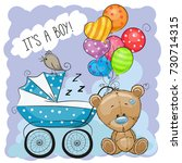 greeting card its a boy with... | Shutterstock . vector #730714315