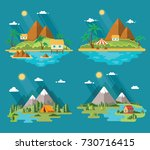 set of beautiful tropical and... | Shutterstock .eps vector #730716415