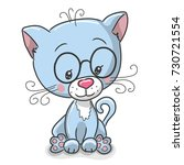 cute drawing blue kitten...   Shutterstock . vector #730721554