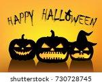 halloween pumpkins silhouettes... | Shutterstock .eps vector #730728745