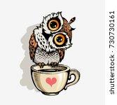 cute owl cartoon vector  bird... | Shutterstock .eps vector #730730161