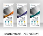 roll up banner stand template... | Shutterstock .eps vector #730730824