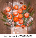 christmas new year composition... | Shutterstock . vector #730733671