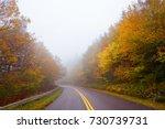 foggy morning on  blue ridge... | Shutterstock . vector #730739731