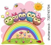 Five Cute Owls Is Sitting On A...