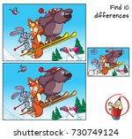 bear  fox and rabbit are... | Shutterstock .eps vector #730749124