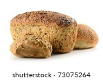 Composition with loaf of bread and rolls isolated on white - stock photo