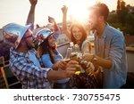 happy cheerful friends spending ... | Shutterstock . vector #730755475