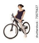 Young woman bicyclist isolated on white, studio shot. - stock photo