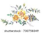 bouquet of roses  watercolor ... | Shutterstock . vector #730758349