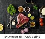 beef steak and ingredients | Shutterstock . vector #730761841
