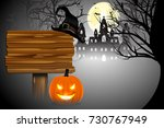 pumpkin glowing in darkness ... | Shutterstock .eps vector #730767949