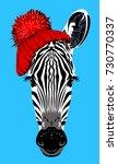 portrait of a zebra  in a... | Shutterstock .eps vector #730770337