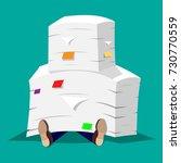 stressed businessman under pile ... | Shutterstock .eps vector #730770559