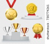set of winner trophy isolated... | Shutterstock .eps vector #730774261