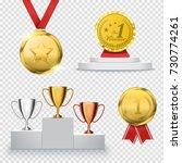 set of winner trophy isolated... | Shutterstock .eps vector #730774261