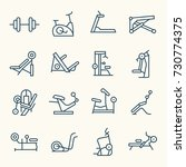 gym equipment line icon set | Shutterstock .eps vector #730774375