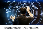 Small photo of select focus back shot of human head who control air traffic on touch screen in digital technology concept