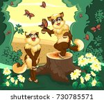 two cats in the forest is... | Shutterstock .eps vector #730785571
