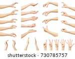 set of woman's hand measuring... | Shutterstock . vector #730785757