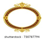 oval golden frame with floral... | Shutterstock .eps vector #730787794