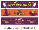 happy halloween greetings and...   Shutterstock .eps vector #730788691