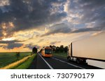 bus and truck transportation at ... | Shutterstock . vector #730790179