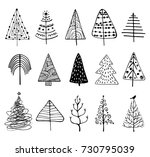 15 designs of doodle christmas... | Shutterstock .eps vector #730795039