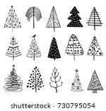 15 designs of doodle christmas... | Shutterstock .eps vector #730795054