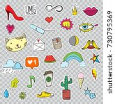 set of patches elements like... | Shutterstock . vector #730795369
