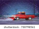 vector illustration red pickup... | Shutterstock .eps vector #730798561